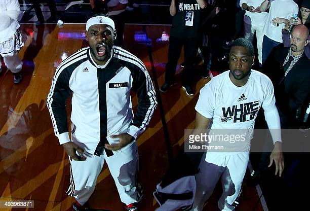 LeBron James of the Miami Heat is introduced before Game Four of the Eastern Conference Finals of the 2014 NBA Playoffs against the Indiana Pacers at...