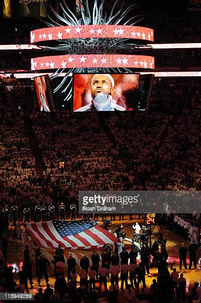LeBron James of the Miami Heat is pictured on the jumbotron prior to Game Six of the 2011 NBA Finals on June 12 2011 at the American Airlines Arena...
