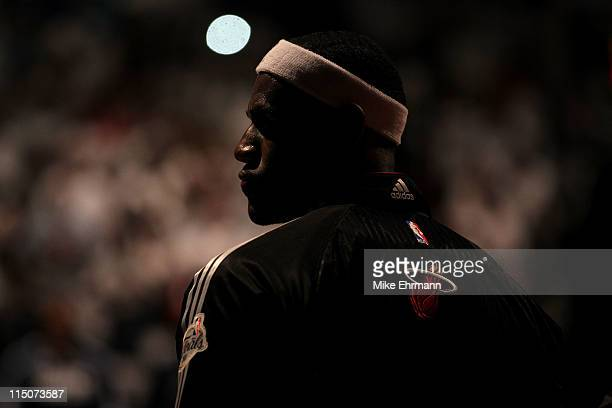 LeBron James of the Miami Heat is seen during pregame festivities against the Dallas Mavericks in Game Two of the 2011 NBA Finals at American...