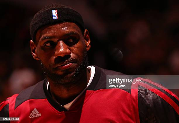 LeBron James of the Miami Heat looks on prior to the start of Game Two of the 2014 NBA Finals against the San Antonio Spurs at the ATT Center on June...