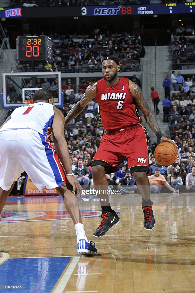 LeBron James #6 of the Miami Heat looks to drive against Tracy McGrady #1 of the Detroit Pistons on March 23, 2011 at The Palace of Auburn Hills in Auburn Hills, Michigan.