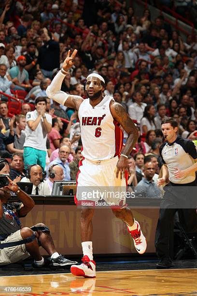 LeBron James of the Miami Heat makes 8 three pointers as he scores 61 career high points against the Charlotte Bobcats at the American Airlines Arena...