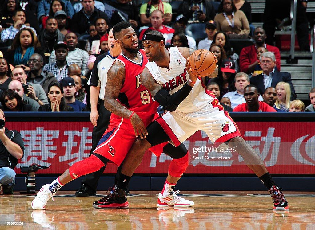 LeBron James #6 of the Miami Heat makes a move against DeShawn Stevenson #92 of the Atlanta Hawks at Philips Arena on November 9, 2012 in Atlanta, Georgia.