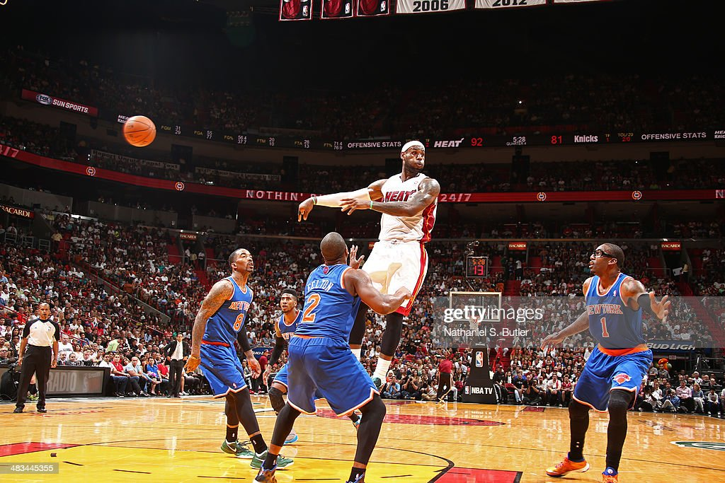 LeBron James #6 of the Miami Heat passes the ball during the game against the New York Knicks on April 6, 2014 at American Airlines Arena in Miami, Florida.