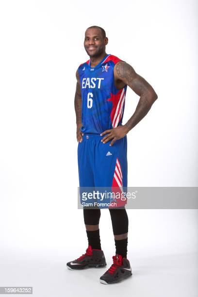 LeBron James of the Miami Heat poses for a portrait in his 2013 AllStar jersey on January 9 2013 at the Hotel Monaco in Portland Oregon NOTE TO USER...