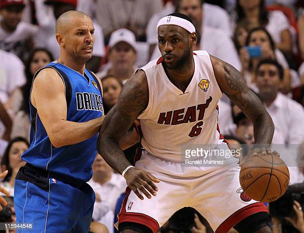 LeBron James of the Miami Heat posts up Jason Kidd of the Dallas Mavericks in the first quarter in Game Six of the 2011 NBA Finals at American...