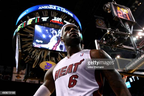 LeBron James of the Miami Heat reacts after being fouled in the second period by George Hill of the Indiana Pacers during Game Three of the Eastern...