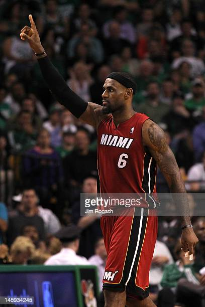LeBron James of the Miami Heat reacts against the Boston Celtics in Game Six of the Eastern Conference Finals in the 2012 NBA Playoffs on June 7 2012...