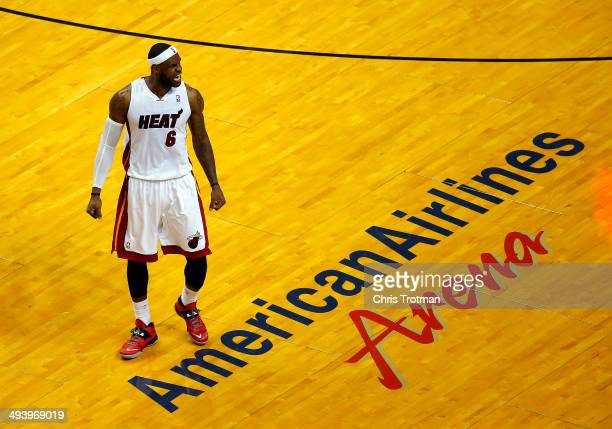 LeBron James of the Miami Heat reacts against the Indiana Pacers during Game Four of the Eastern Conference Finals of the 2014 NBA Playoffs at...