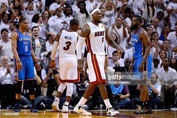 LeBron James of the Miami Heat reacts as he was fouled on a shot attempt in the fourth quarter against the Oklahoma City Thunder in Game Five of the...