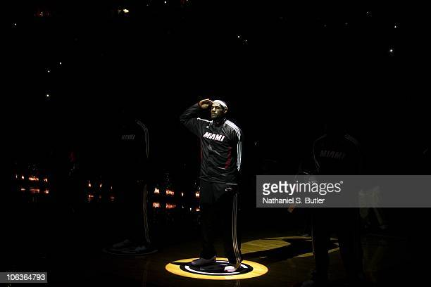 LeBron James of the Miami Heat salutes the crowd while being introduced prior to playing against the Orlando Magic during a game on October 29 2010...