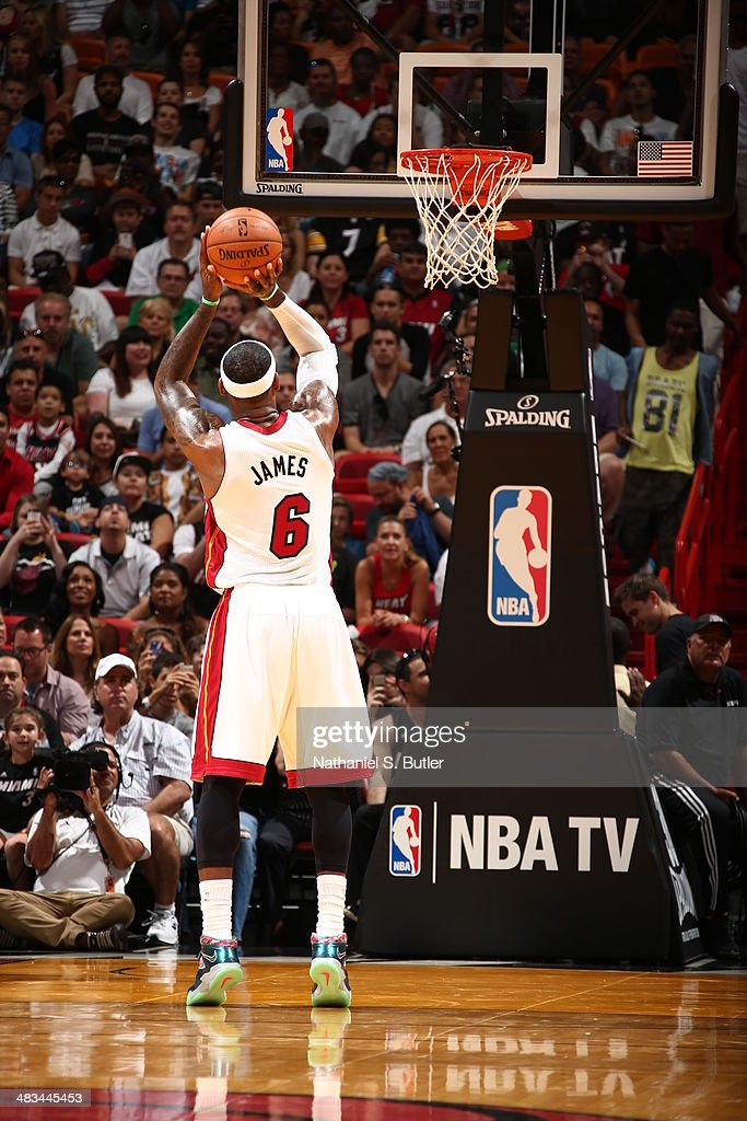 LeBron James #6 of the Miami Heat shoots a free throw during the game against the New York Knicks on April 6, 2014 at American Airlines Arena in Miami, Florida.