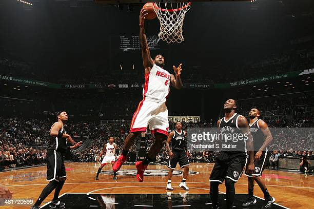 LeBron James of the Miami Heat shoots in a game against the Brooklyn Nets at the Barclays Center on January 10, 2014 in the Brooklyn borough of New...