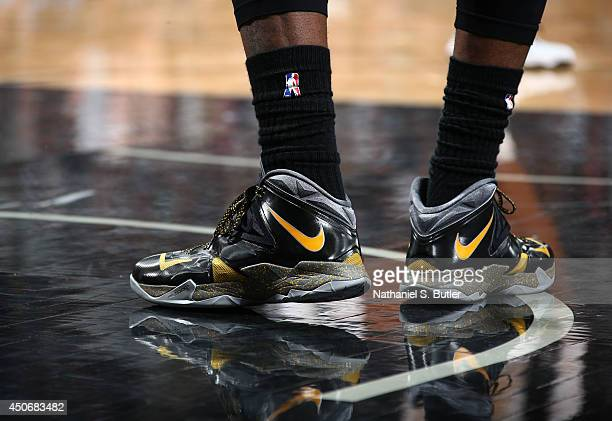 LeBron James of the Miami Heat sneakers during Game Five of the 2014 NBA Finals at ATT Center on June 15 2014 in San Antonio Texas NOTE TO USER User...