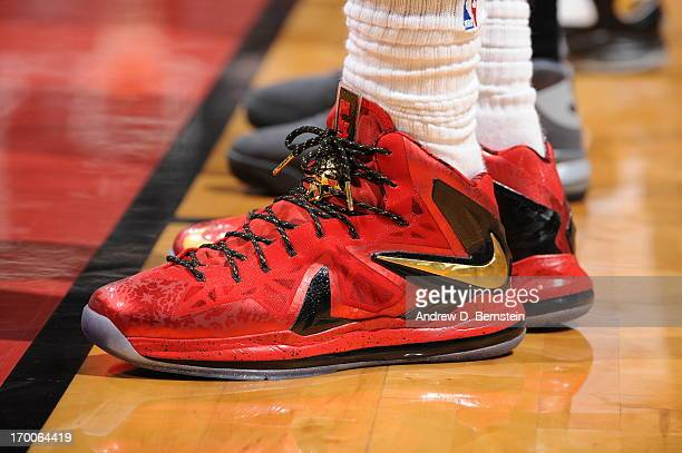 329490fd4b33e LeBron James of the Miami Heat sneakers during Game One of the 2013 NBA  Finals against