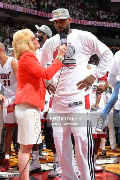 LeBron James of the Miami Heat speaks with the media after the win against the Indiana Pacers in Game Six of the Eastern Conference Finals during the...