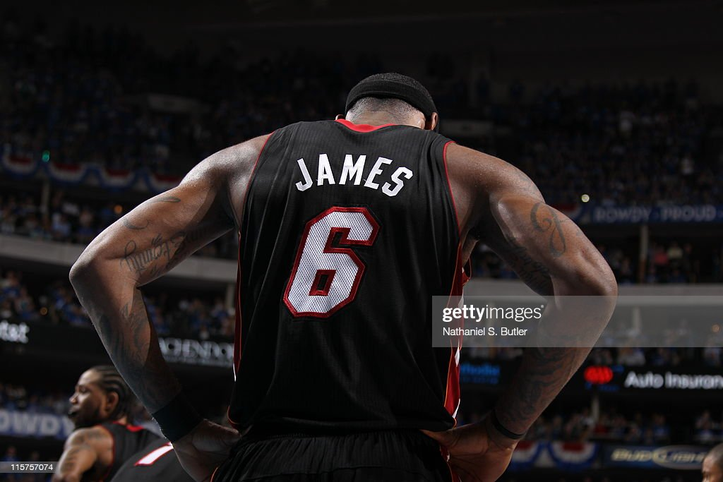 LeBron James #6 of the Miami Heat stands on the court during Game Five of the 2011 NBA Finals against the Dallas Mavericks on June 09, 2011 at the American Airlines Center in Dallas, Texas.