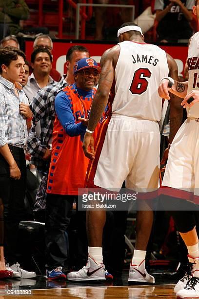 designer fashion 83e21 d36e2 LeBron James of the Miami Heat talks to Spike Lee on February 27 2011 at  American
