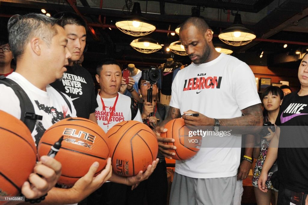 LeBron James of the Miami Heat visits a Nike store on July 25, 2013 in Guangzhou, China.