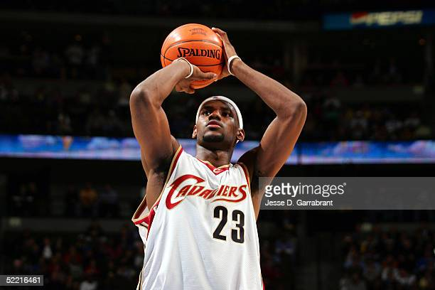 LeBron James of the Sophomore Team shoots a free throw against the Rookie Team in the got milk? Rookie Challenge during 2005 NBA All-Star Weekend at...