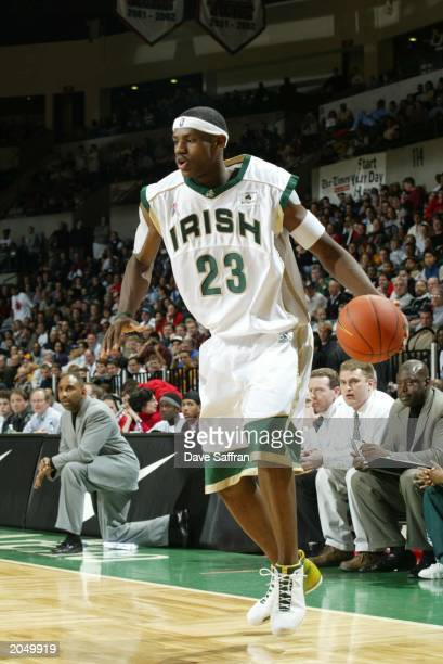 LeBron James of the St VincentSt Mary Fighting Irish dribbles during the game against the Los Angeles Westchester Comets in the Primetime Shootout at...