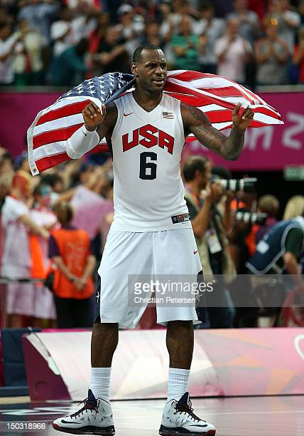 LeBron James of the United States celebrates after the Men's Basketball gold medal game between the United States and Spain on Day 16 of the London...