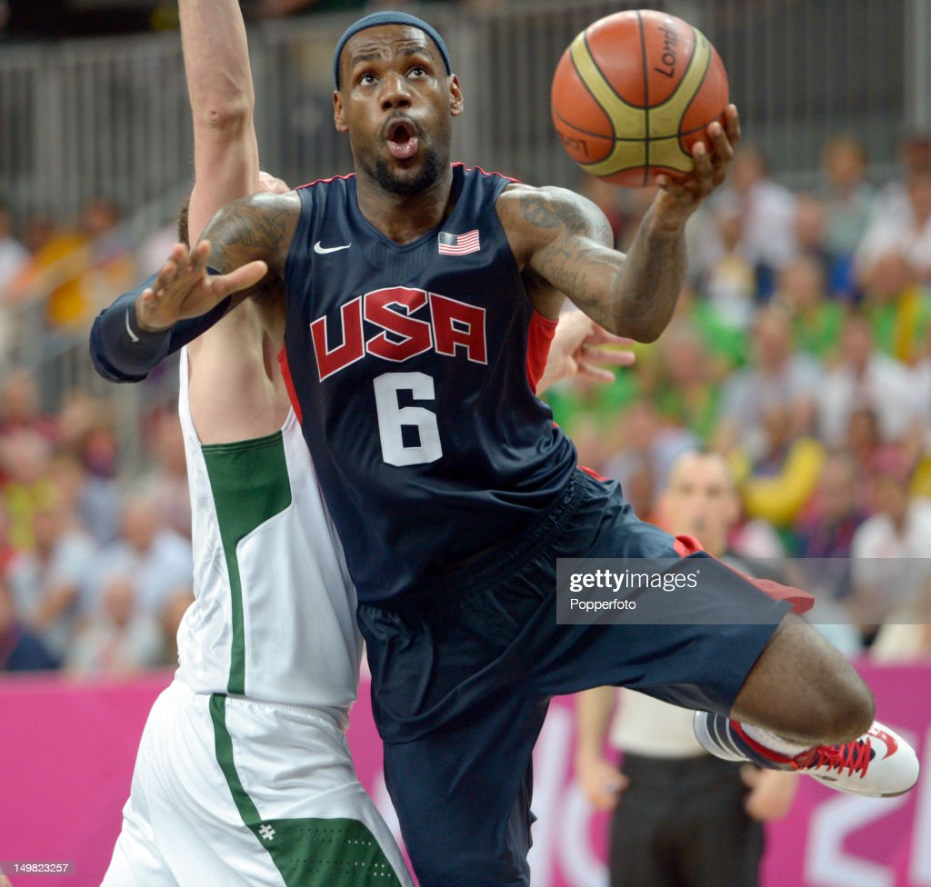 Lebron James of the United States during the Men's Basketball Preliminary Round match United States v Lithuania on Day 8 of the London 2012 Olympic Games at the Basketball Arena on August 4, 2012 in London, England.