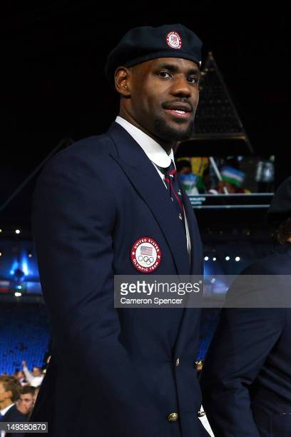 LeBron James of the United States Mens National Team walks the stadium during the Opening Ceremony of the London 2012 Olympic Games at the Olympic...