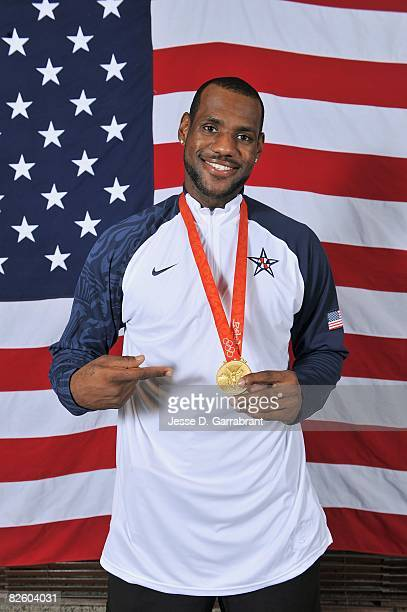 LeBron James of the United States poses with his gold medal after winning the men's gold medal at the 2008 Beijing Olympic Games against Spain at the...