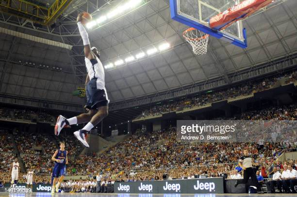 LeBron James of the US Men's Senior National Team attempts a dunk during a game against the Spanish Men's Senior National Team at Palau Sant Jordi on...