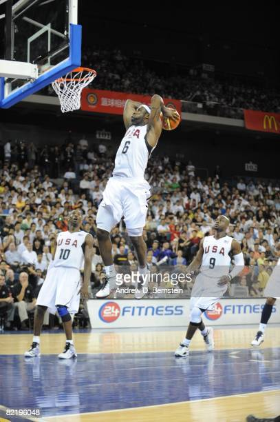 LeBron James of the US Men's Senior National Team dunks during a PreSeason Friendly against Turkey on July 31 2008 at the Cotai Arena in Macao China...