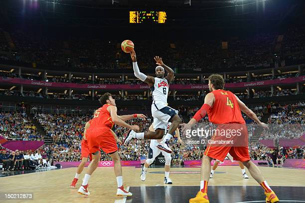 LeBron James of the US Men's Senior National Team passes against Spain during their Men's Gold Medal Basketball Game on Day 16 of the London 2012...