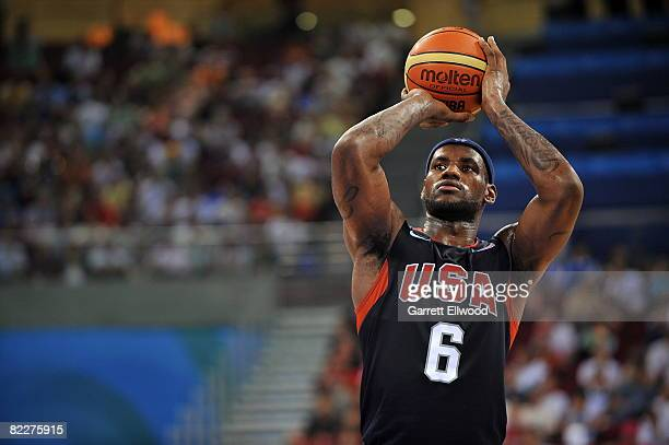 LeBron James of the US Men's Senior National Team shoots a freethrow against Angola during their men's preliminary basketball game on day 4 of the...