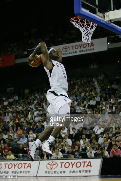 LeBron James of the USA Basketball Men's Senior National Team dunks against the Turkey National Team during the USA Basketball International...
