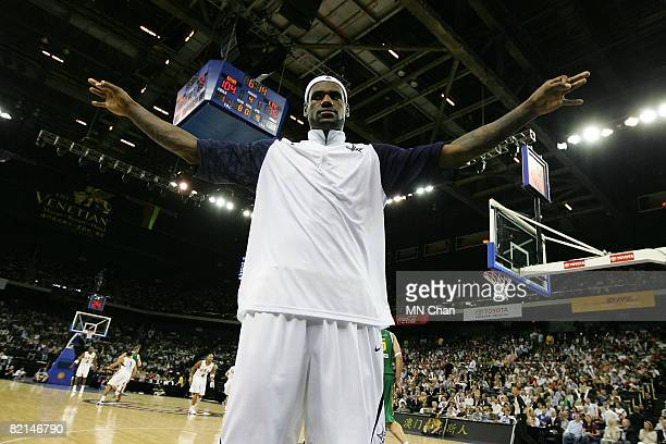 LeBron James of the USA Basketball Men's Senior National Team gestures during the USA Basketball International Challenge exhibition game against the...