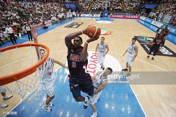 LeBron James of the USA Basketball Men's Senior National Team goes to the basket against Greece during the FIBA World Basketball Championship on...