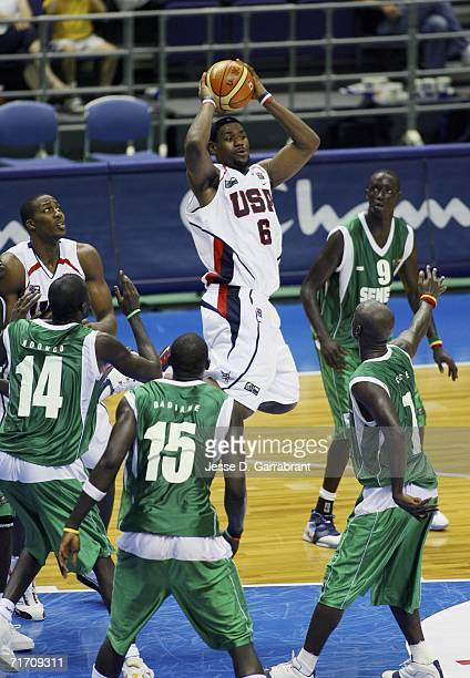 LeBron James of the USA Basketball Senior Men's National Team looks to pass against Senegal during the preliminary round of FIBA World Championships...