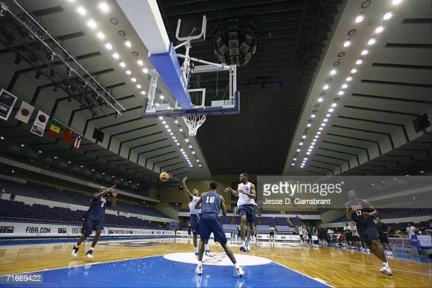 LeBron James of the USA Basketball Senior Men's National Team passes at practice at the Hokkaido Perfectual Sports Center on August 18 2006 in...