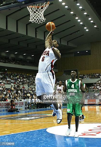 LeBron James of the USA Basketball Team dunks against Senegal during the preliminary round of FIBA World Championships 2006 on August 24 2006 in...