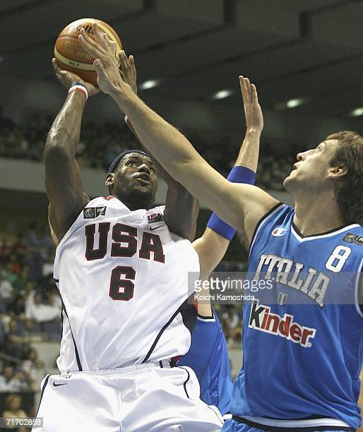 LeBron James of the USA Basketball Team makes a pass against Italy during the preliminary round of FIBA World Championships 2006 on August 23 2006 in...
