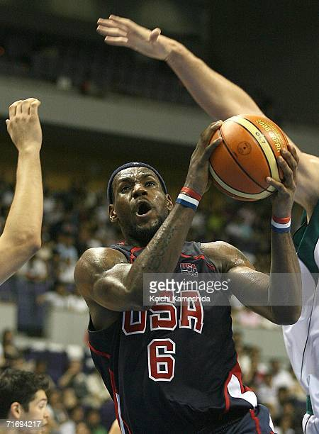 LeBron James of the USA Basketball Team shoots against Slovenia during the preliminary round of FIBA World Championships 2006 on August 22, 2006 in...