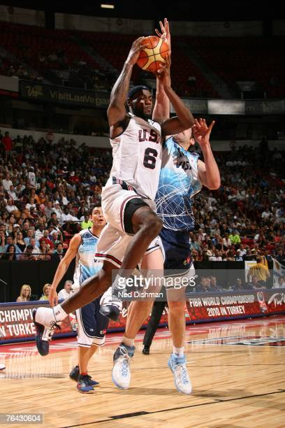 LeBron James of the USA Men's Senior National Team drives against Argentina during the second round of the 2007 FIBA Americas Championship on August...