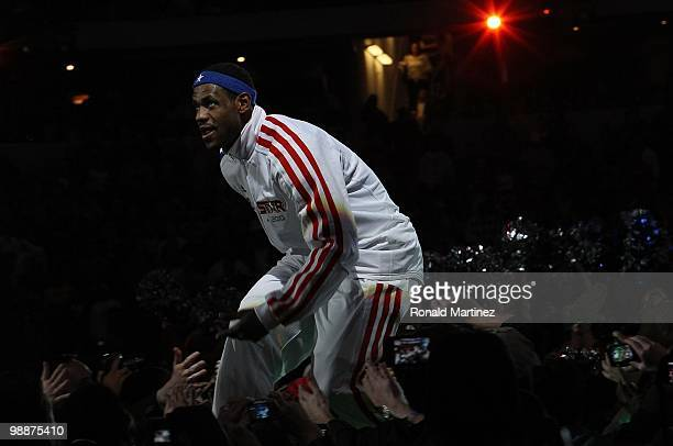 LeBron James of the Western Conference is welcomed by fans during introductions before the NBA AllStar Game part of 2010 NBA AllStar Weekend at...