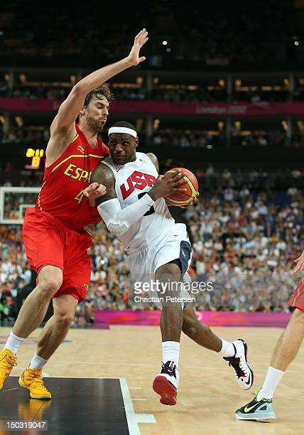 Lebron James of United States handles the ball during the Men's Basketball gold medal game against Spain on Day 16 of the London 2012 Olympics Games...