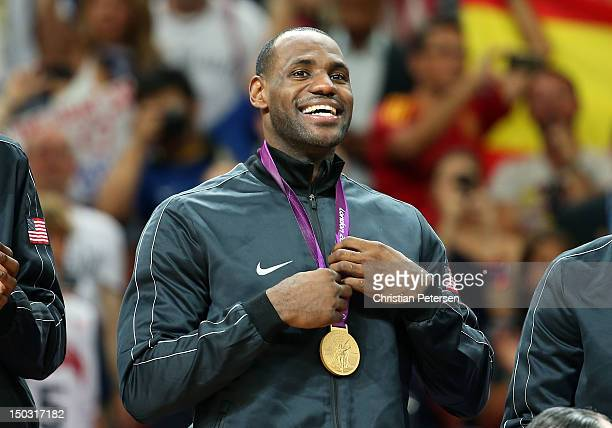 Lebron James of United States holds his gold medal after defeating Spain in the Men's Basketball gold medal game on Day 16 of the London 2012...