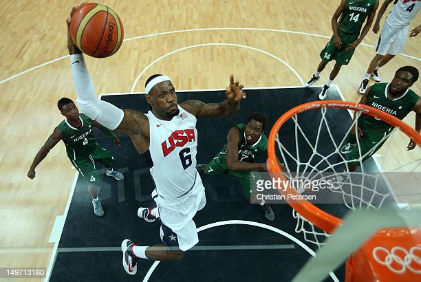 Lebron James of United States slam dunks against Nigeria in the first quarter during the Men's Basketball Preliminary Round match on Day 6 of the...