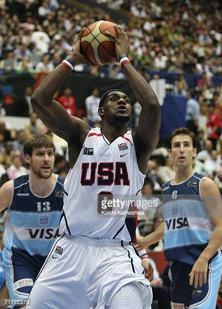 LeBron James of US goes hard to the hoop against Argentina during the 2006 FIBA World Championship Classification Round on September 2 2006 in...