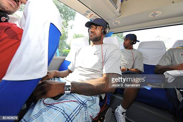 LeBron James of US Men's Senior National Team is focused as he is on his way to practice during the 2008 Beijing Summer Olympics on August 19 2008 at...