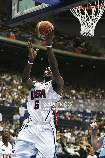 LeBron James of US shoots against Argentina during the 2006 FIBA World Championship Classification Round on September 2 2006 in Saitama Japan The...