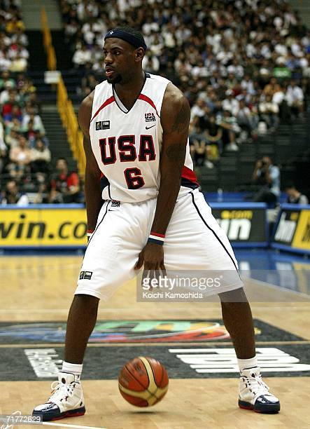 LeBron James of USA in action against Argentina during the 2006 FIBA World Championship Classification Round on September 2 2006 in Saitama Japan The...